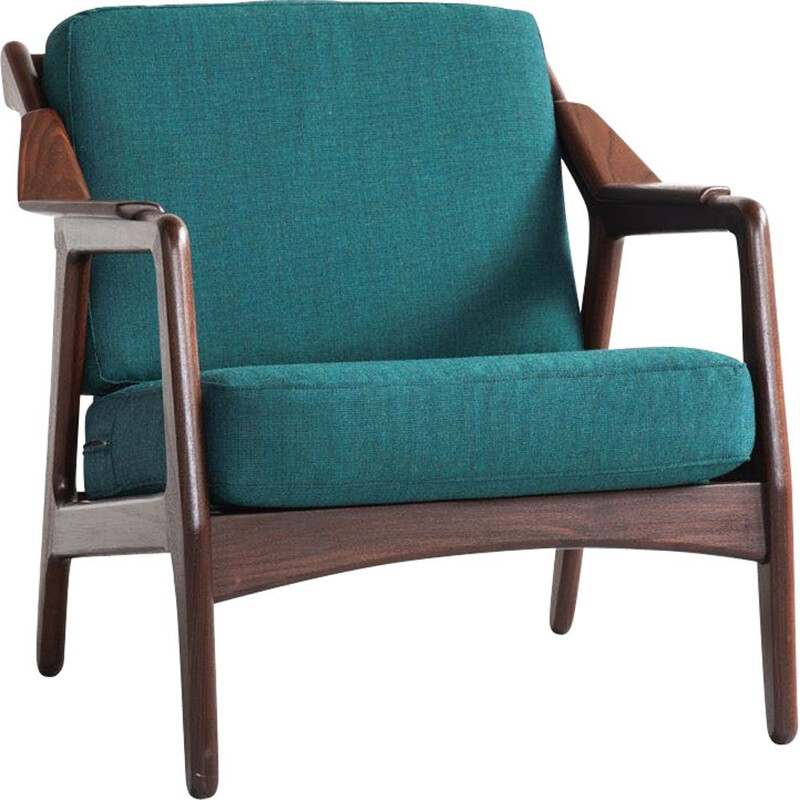 Vintage easy chair in teak and new fabric by Brockmann Petersen for Randers