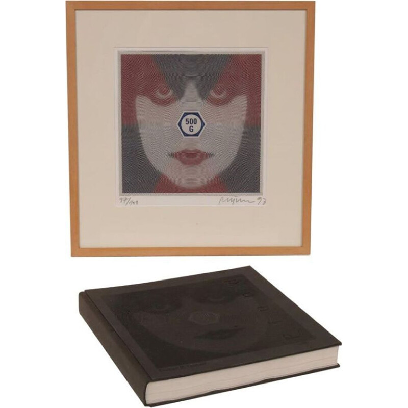 Vintage silk screen and art book 'Weight and See' by Roger Pfund, Germany, 1993