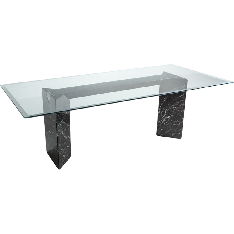 Vintage dining table in black marble by Lazzotti for Up&Up Italy 1990s