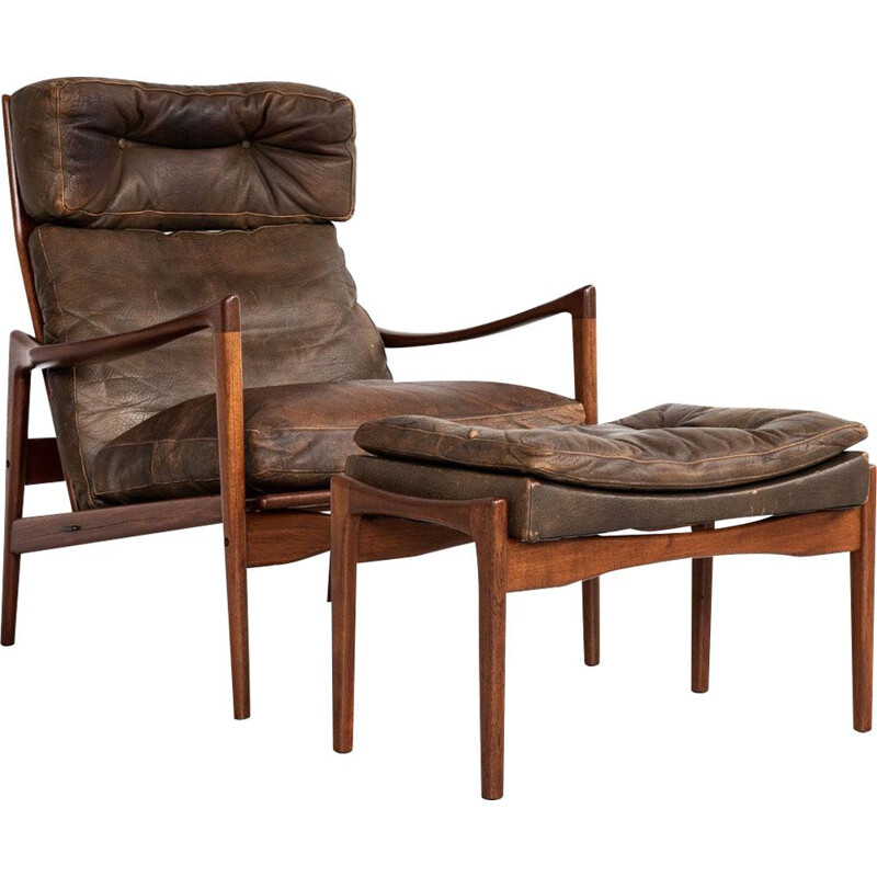 Vintage armchair and ottoman in teak and leather by Ib Kofod Larsen 1960