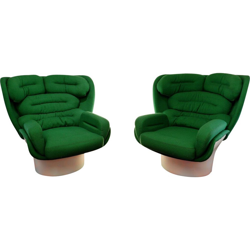 Pair of vintage ELDA armchairs by Joe Colombo for Comfort 1970