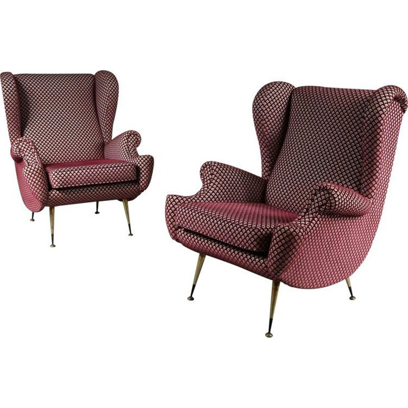 Vintage pair of armchairs in wine red and white 1950s