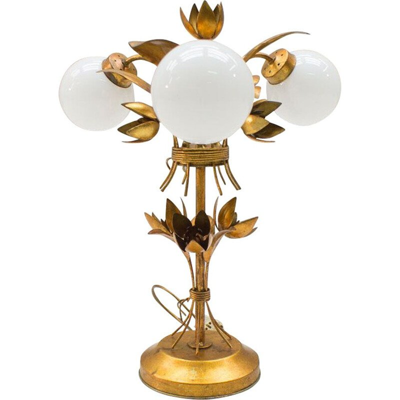 Vintage 3-Light gold leaf lamp from Hans Kögl