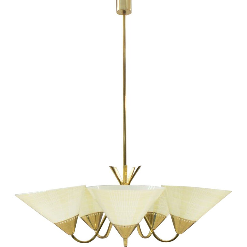Vintage german ceiling lamp in brass and glass 1950s