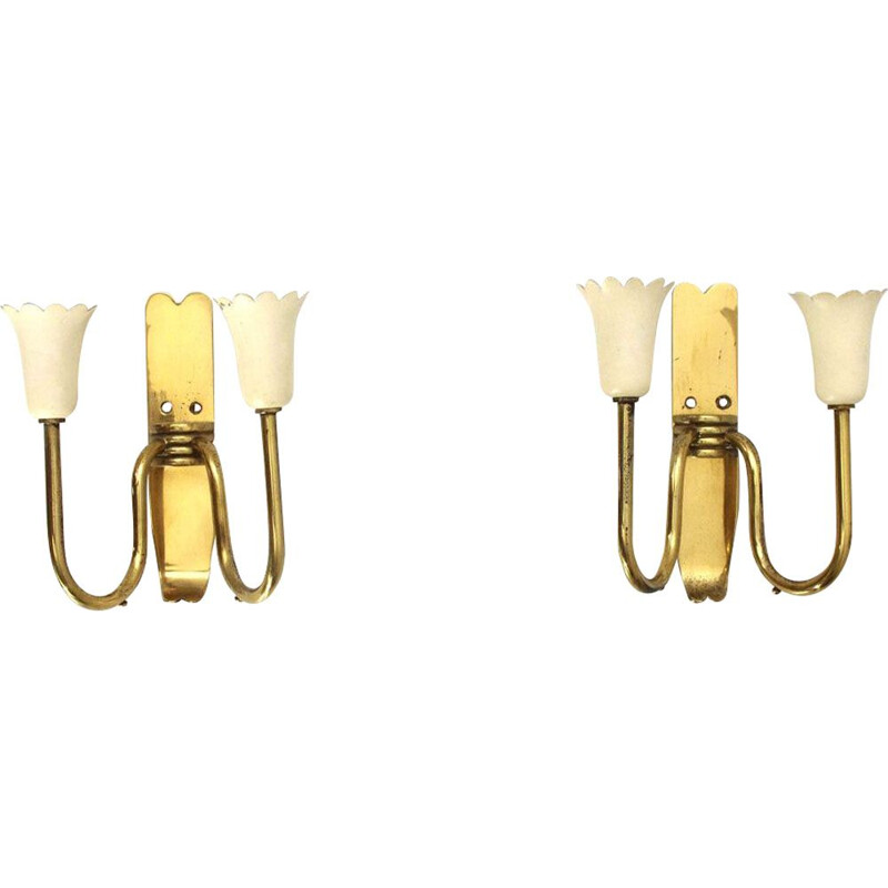 Pair of vintage italian floral wall lamps in brass and metal 1950s