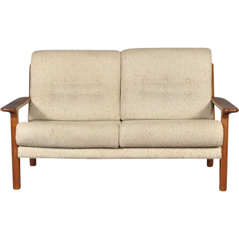 Vintage sofa for Glostrup in white sandy fabric and teakwood 1960s