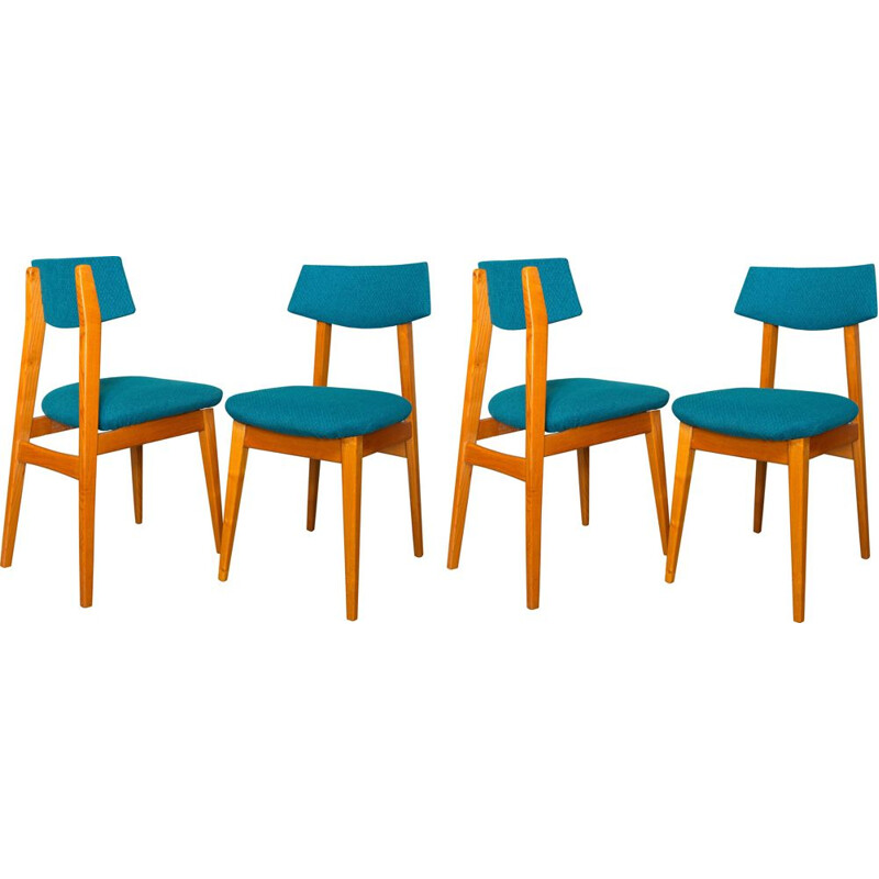 Set of 4 vintage scandinavian chairs in ashwood and fabric 1960s