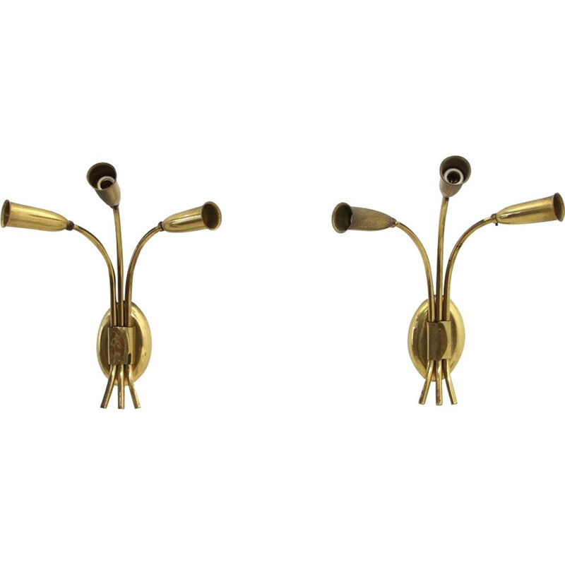 Pair of vintage brass 3 lights italian wall lamps 1950s