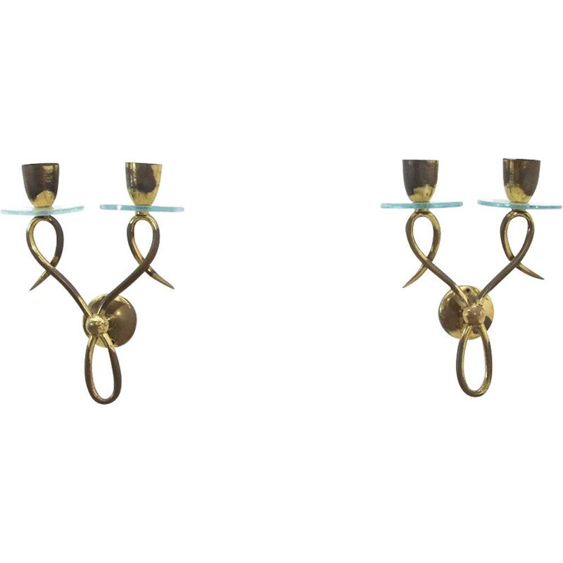 Pair of vintage wall lamps brass and glass Italy 1950s