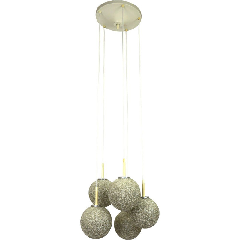 Vintage chandelier Granulated Acrylic 5-Light Cascade, Germany, 1970s