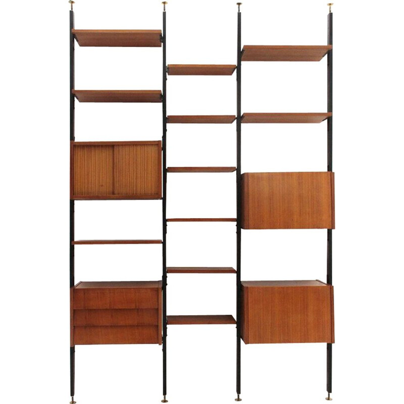 Vintage wall unit in wood and black metal Italy 1960s