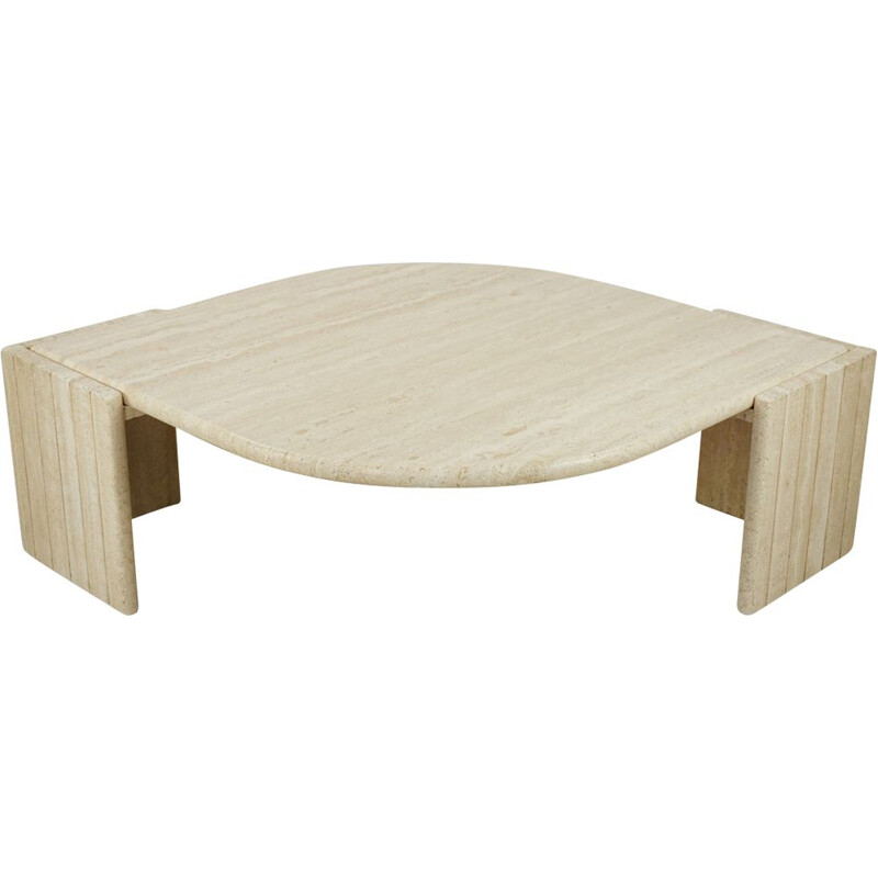 Vintage coffee table in free-form travertine