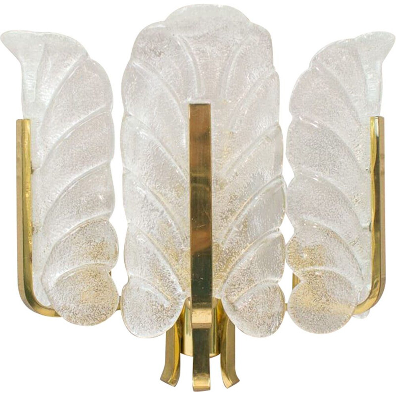 Vintage glass leaves and brass wall lamp by Carl Fagerlund for Orrefors