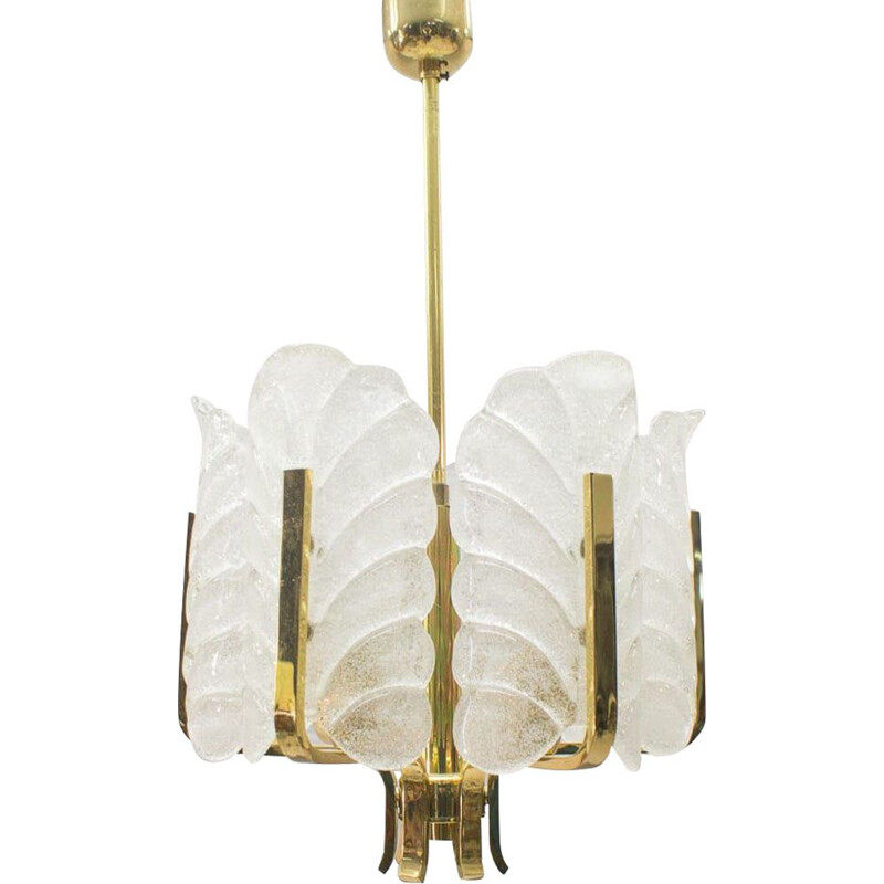 Vintage glass leaves and brass chandelier by Carl Fagerlund for Orrefors