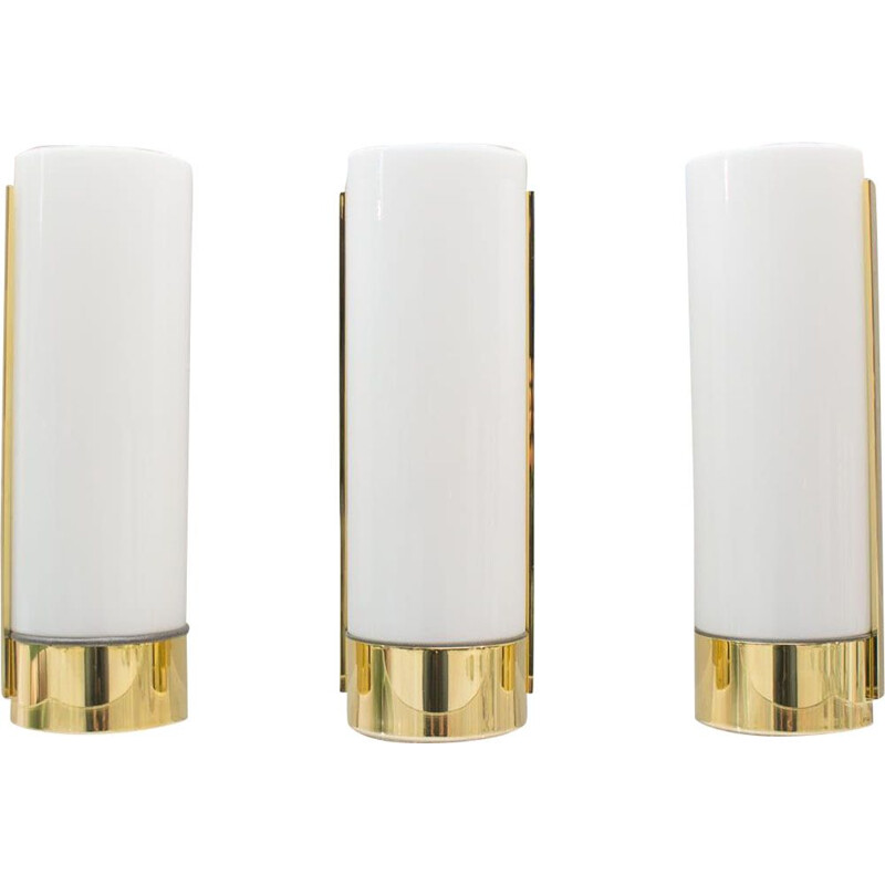 Vintage wall lamp in gold and milk glass from Limburg,1970