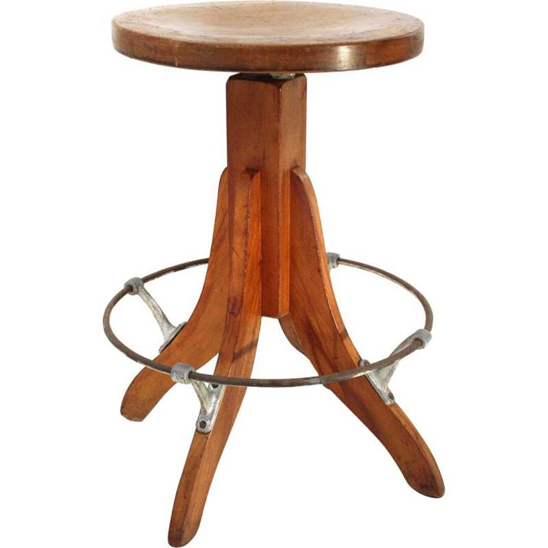 Italian vintage stool made of industrial wood from the 1950s