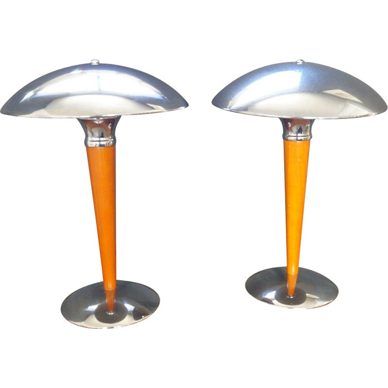 Pair of vintage table lamps in metal and chrome,1990
