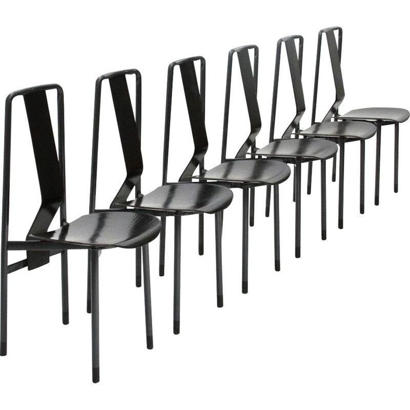 "Set of 6 ""Irma"" black dining chairs by Achille Castiglioni for Zanotta,1970"