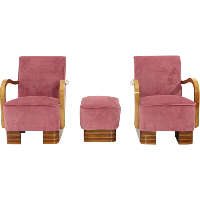 Pair of vintage pink velvet italian armchairs and pouf,1940