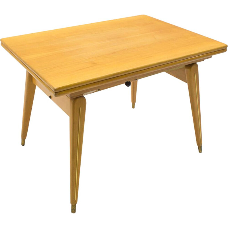 Vintage height-adjustable table in wood and brass 1950s