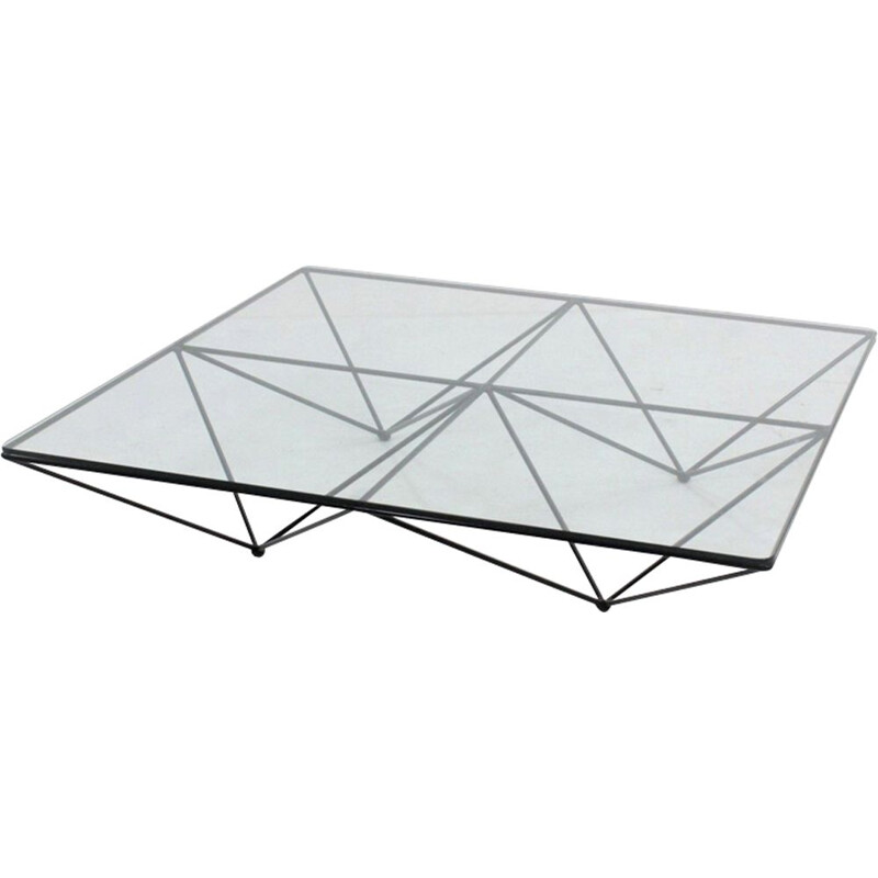 Vintage Alanda coffee table for B&B in glass and black metal 1970s