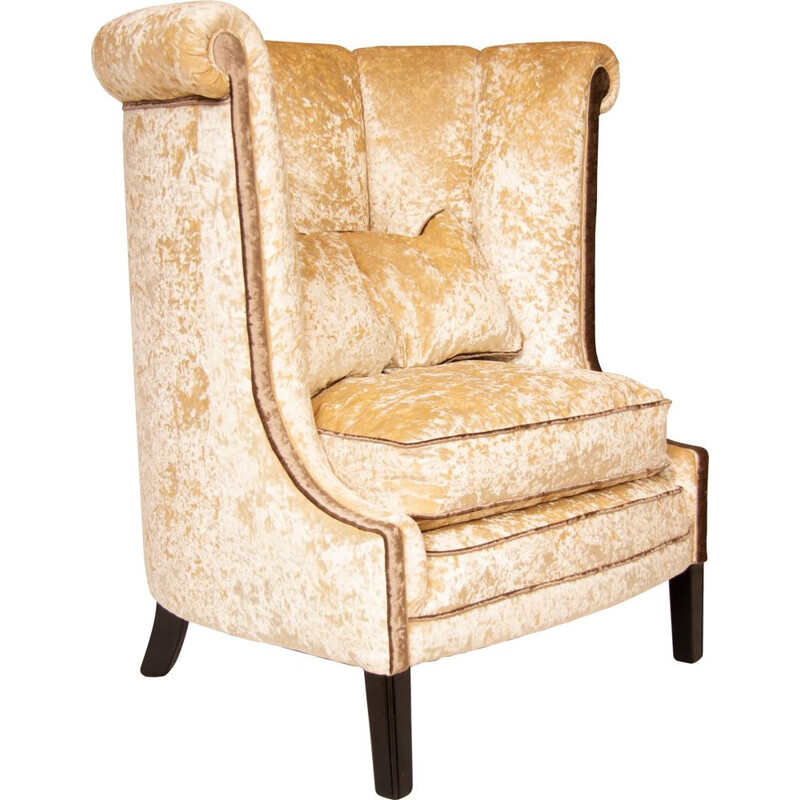 Vintage french roll top high back armchair in beige velvet 1930s