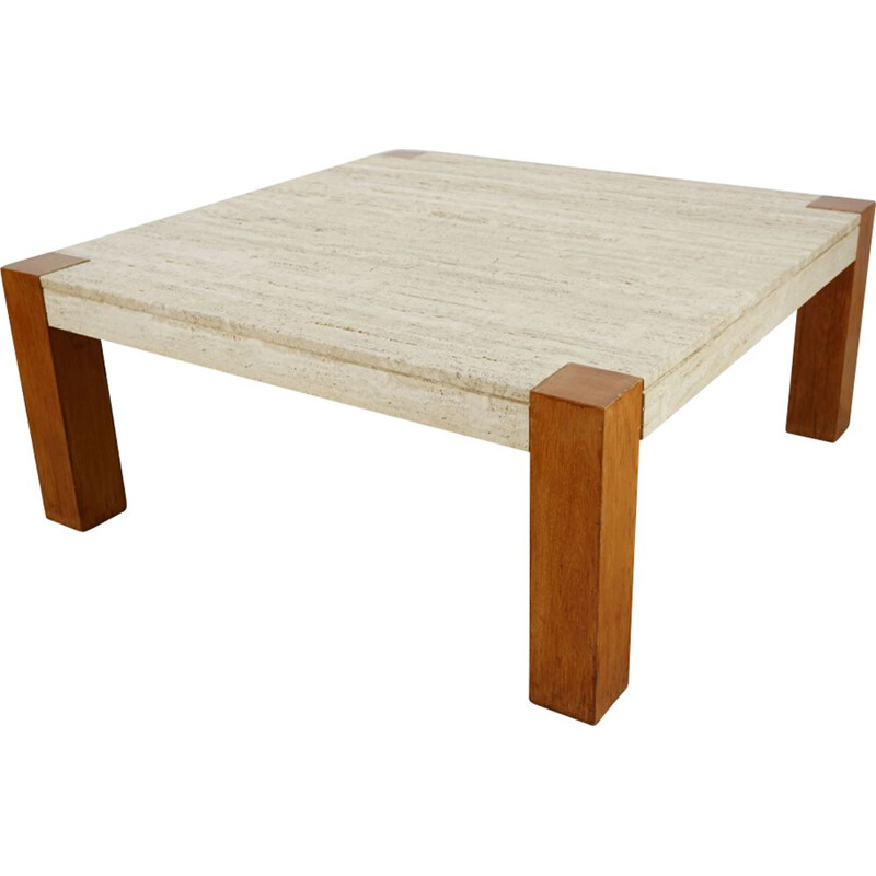 Vintage coffee table in travertine and teak 1960s