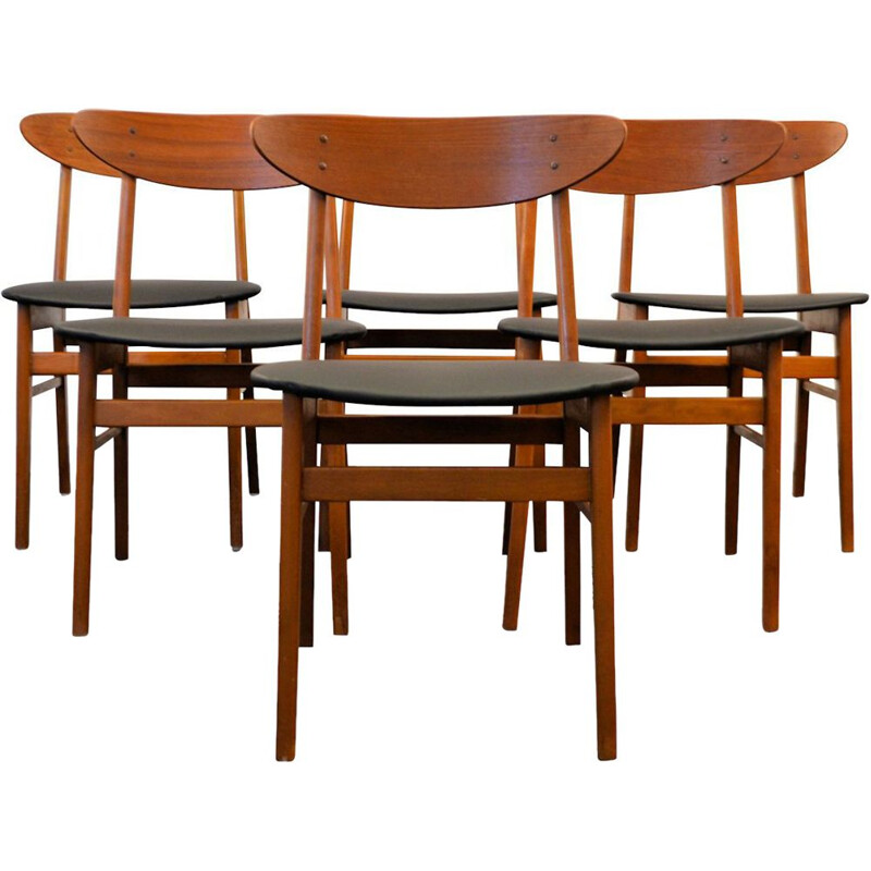 Set of 6 vintage dining chairs in teak by Farstrup Denmark