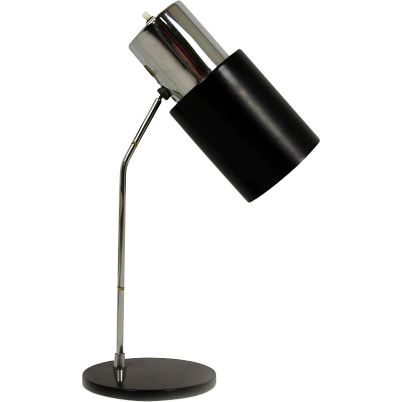 Vintage black and silver table lamp by Josef Hurka for Napako