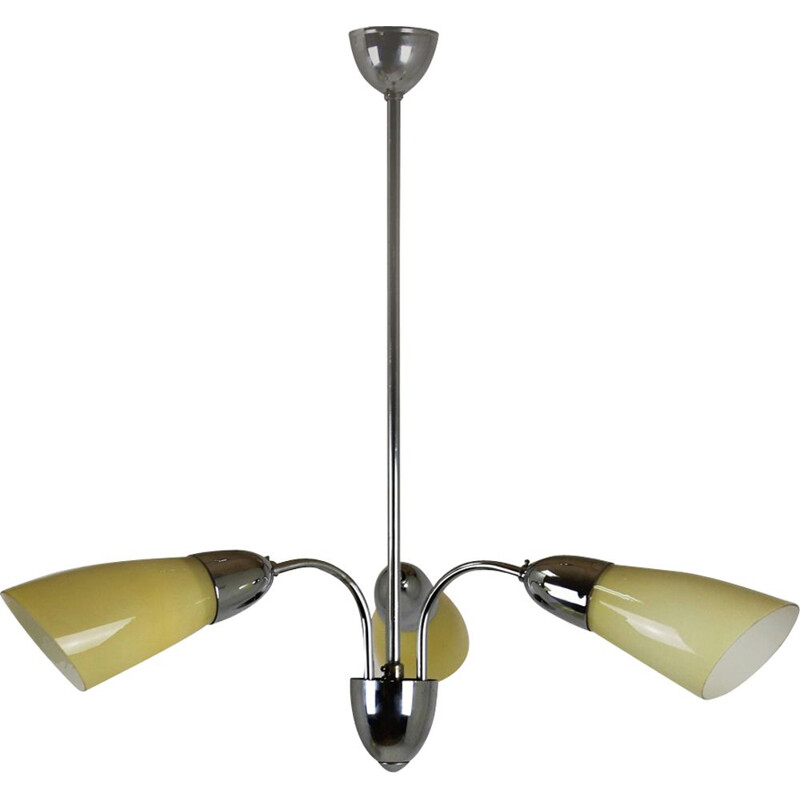 Vintage chrome 3-armed ceiling lamp from Instala Decin