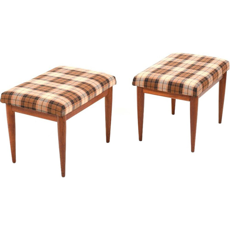 Pair of vintage Danish liftable footstools in teak