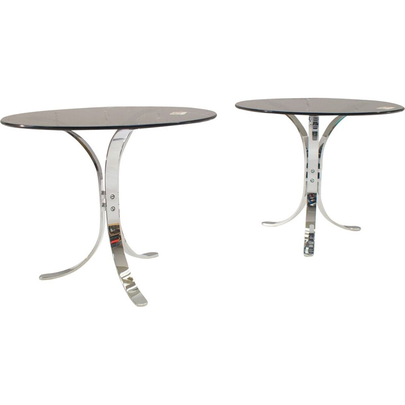 Set of 2 vintage German chrome and smoked glass side tables from Ronald Schmitt