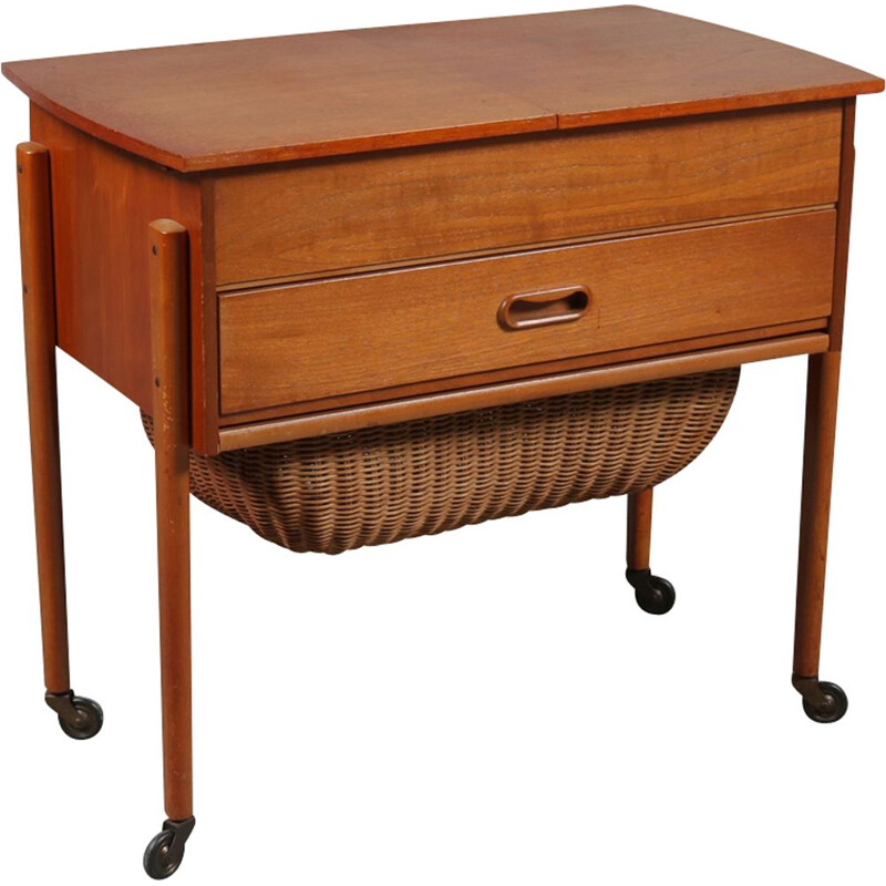 Vintage teak sewing table 1950s