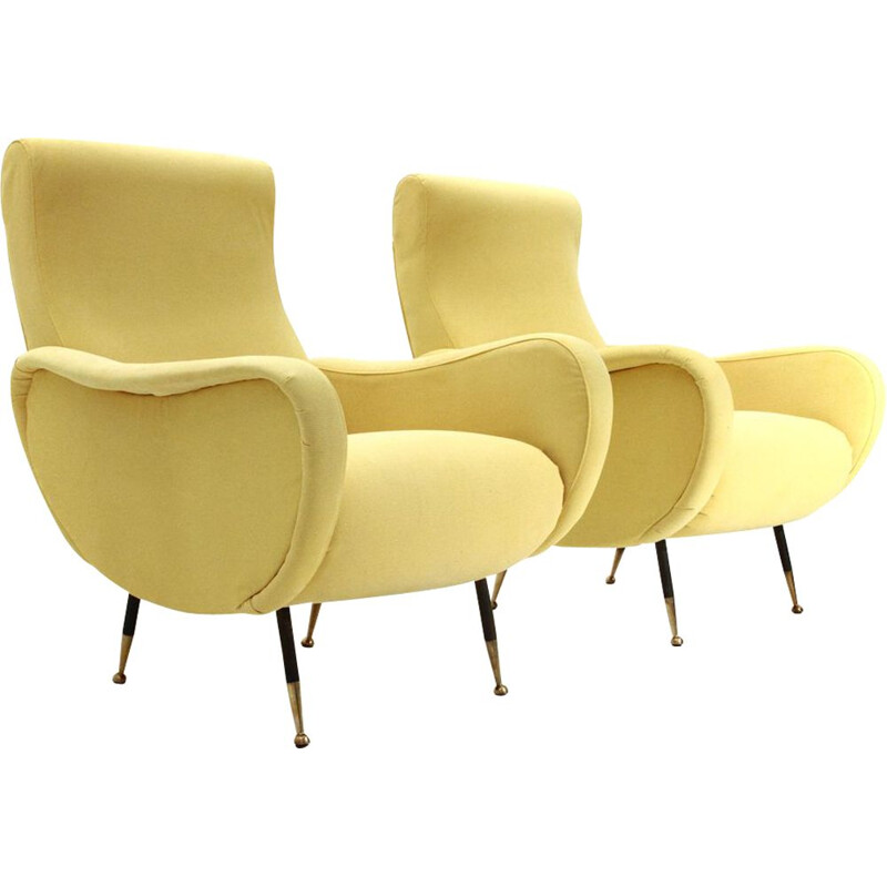 Pair of vintage yellow armchairs, 1950