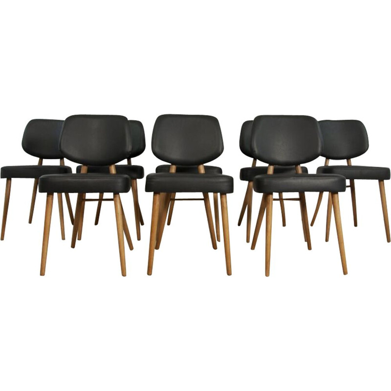 Vintage set of 8 leather dining chairs 1970s