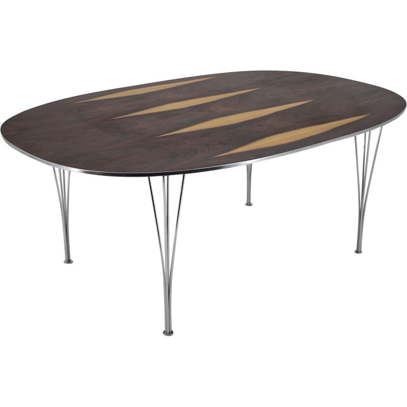 Super Ellipse table in rosewood by Piet Hein and Bruno Mathsson for Fritz Hansen