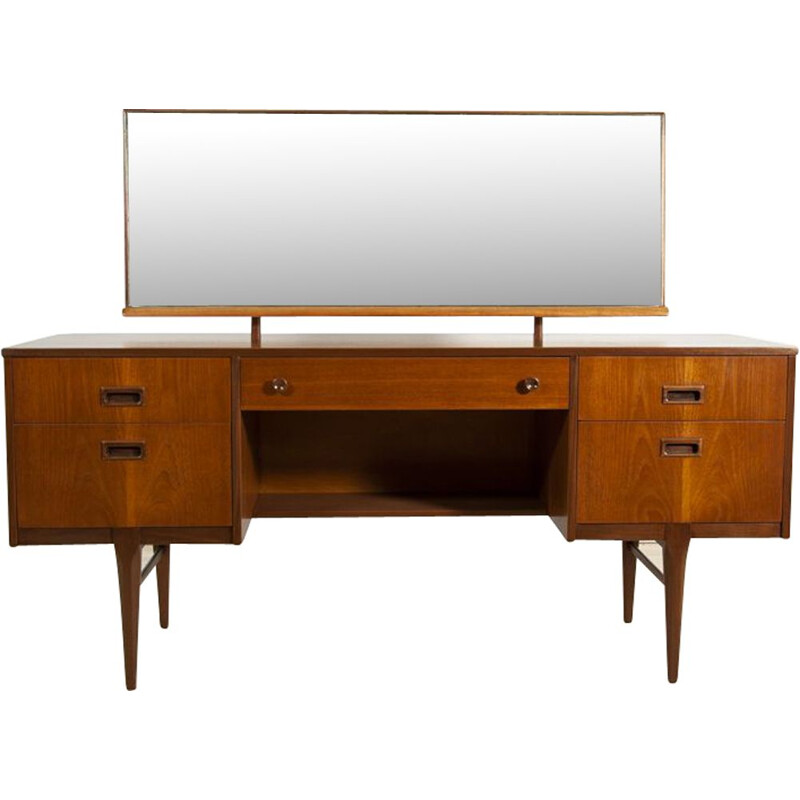Vintage British dressing table in teak with mirror