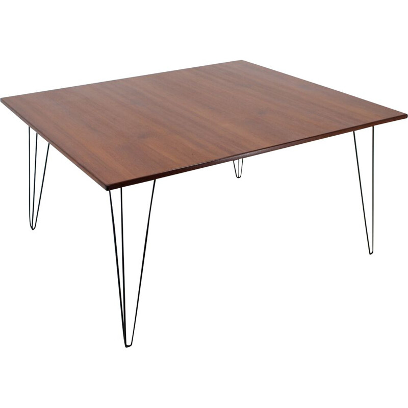 Vintage wooden conference table with iron legs