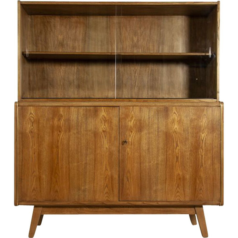 Vintage highboard in ash by Bohumil Landsman & Hubert Nepozitek for Jitona, 1960s