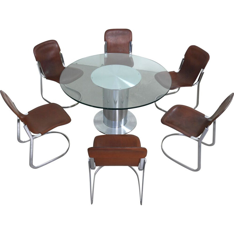 Vintage dining set by Willy Rizzo for Cidue