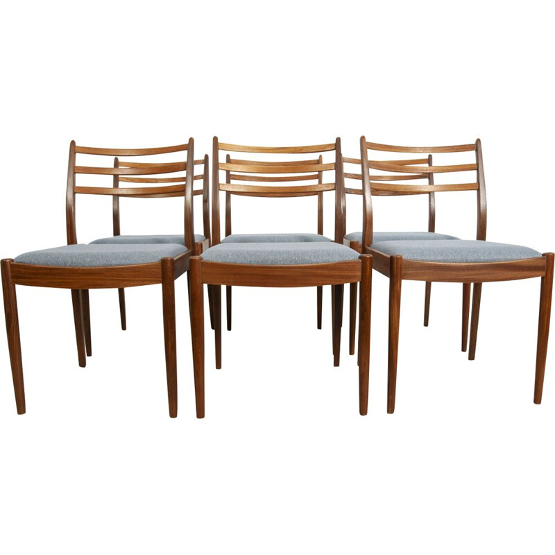 Set of 6 vintage chairs by Victor Wilkins for G-Plan in teak and fabric 1960s