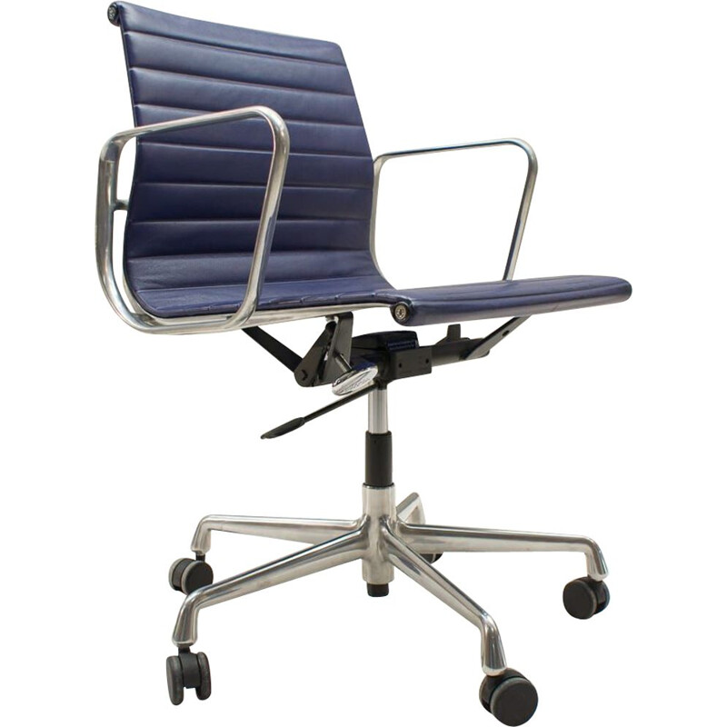 Vintage model EA 117 chair by Charles & Ray Eames for Vitra in blue leather