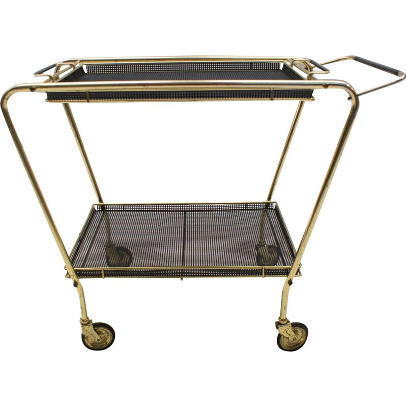 French vintage serving cart in black meal and brass 1950s
