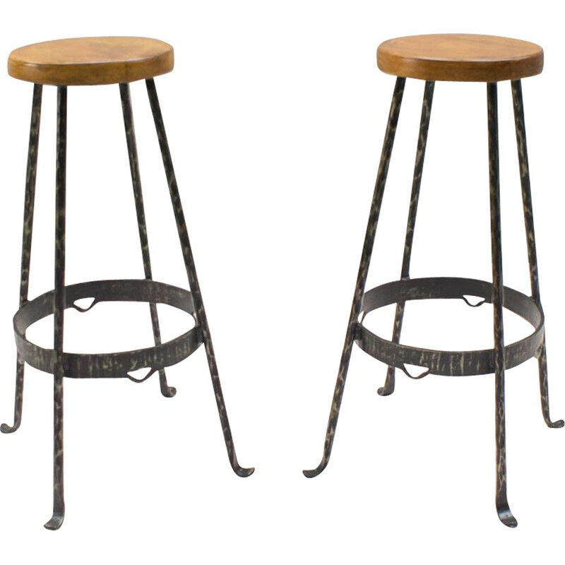 Set of 2 vintage stools in wood and iron 1960s