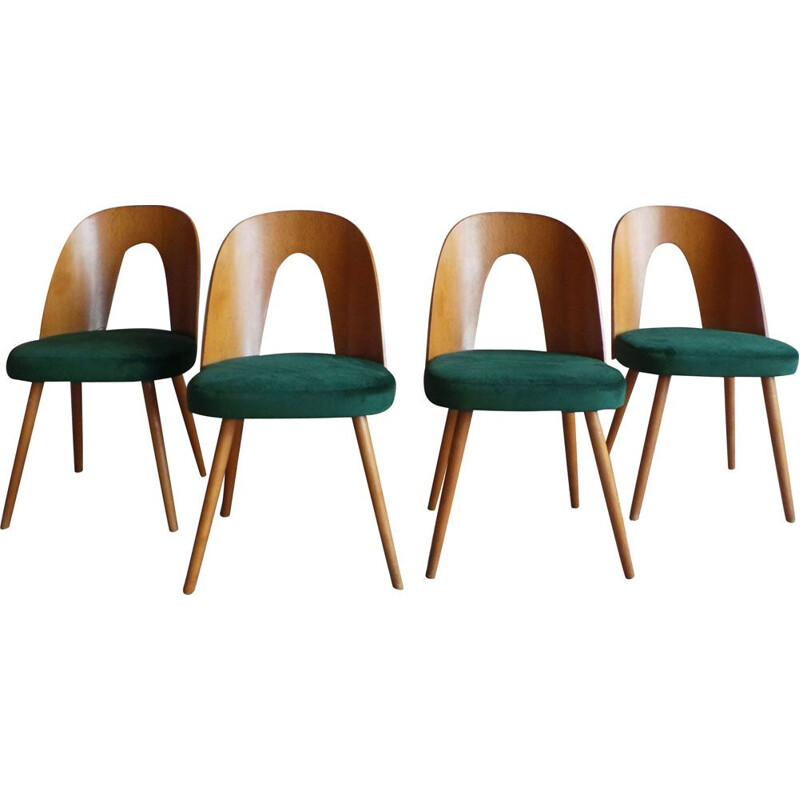 Set of 4 vintage dining chairs in plywood and ash by Antonín Šuman for Tatra Nabytok, 1960s