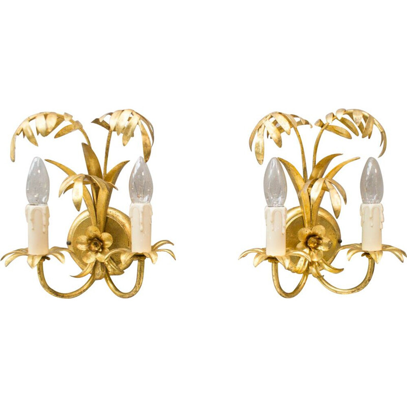 Pair of golden Palm wall lamps by Hans Kögl