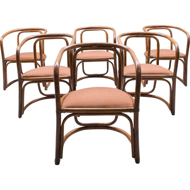 Set of 6 Italian chairs in bamboo and fabric
