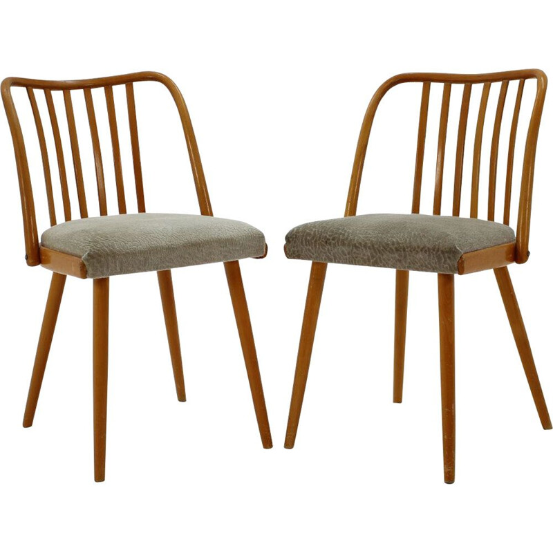 Pair of vintage chairs in wood and fabric