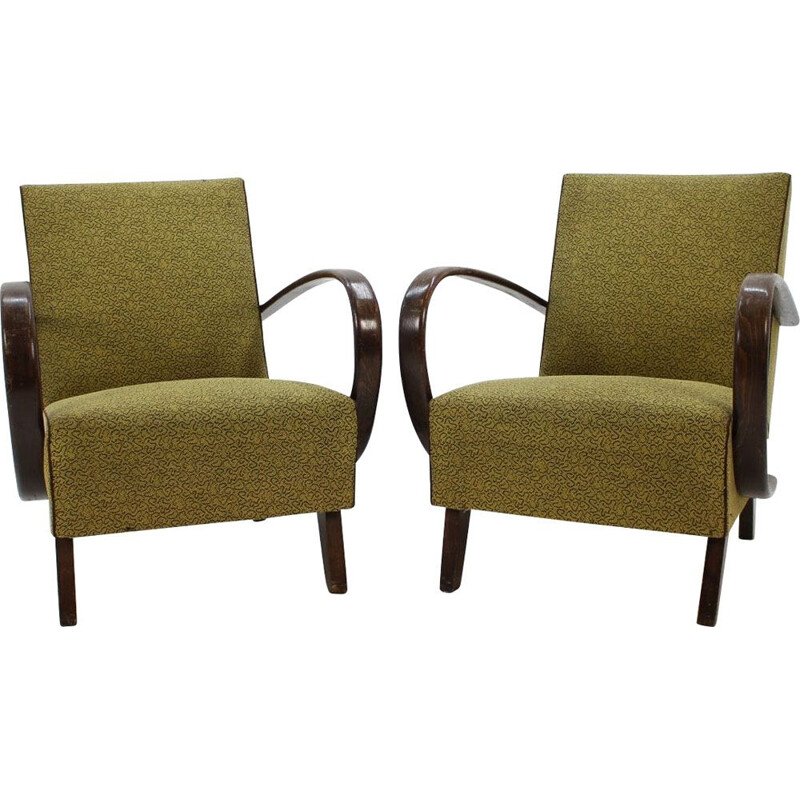 Pair of vintage armchairs in oak by Jindrich Halabala