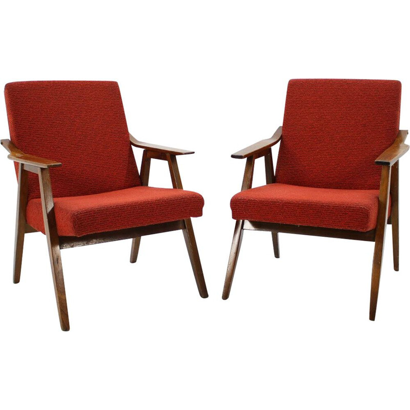 Pair of vintage armchairs in red fabric